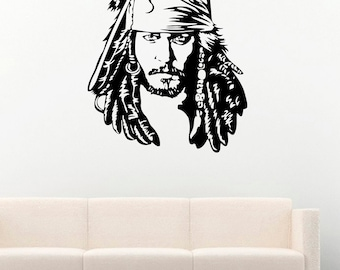 Pirate of The Caribbean Vinyl Wall Decals Head Captain Jack Sparrow Vinyl Decor Stickers Murals MK4227