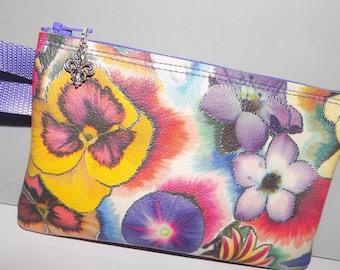 Flowers w/Silver Outline Print LEATHER Little Wristlet Bag
