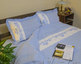 linen duvet cover and pillowcases, King linen duvet set