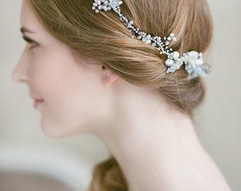 Wedding Hair Accessories , Wedding Hair Comb, Pearl Crystal Hair Comb , Freshwater Pearl Wedding Headpiece, Silver Bridal Hairpiece