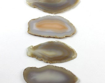 Brazilian Agate Slabs Natural Cream Brown Gold Set of 4 - BA14
