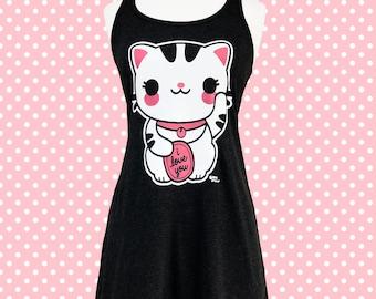 Maneki Neko Lucky Cat Dress - Kawaii Cat Racerback Skater Dress - Sizes S, M, L, XL, 2X