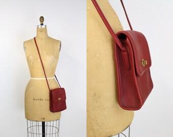 Vintage Authentic Red COACH Crossbody Saddle Bag / Purse / Vintage Coach / Leather Bag / Red Purse / Vintage Coach/ Mini Bag/ Murphy Bag