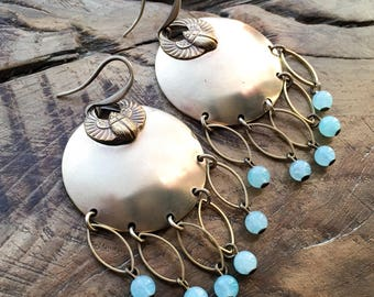Brass Disc earrings, scarab earrings, amazonite & antique bronze