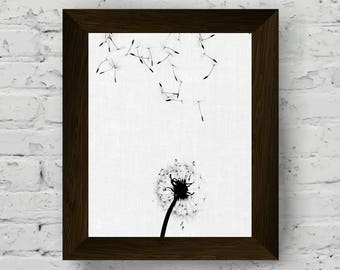 dandelion wall art, black and white prints, floral photography, minimalist poster, scandinavian printable art, instant digital download