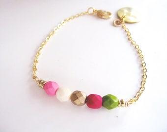 Beaded Bracelet, Pink and Green Beads, Gold Bracelet, Layered Bracelet, Spring, Disc charm, Friendship Bracelet, Modern Bracelet, Bohemian