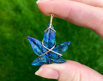 Wire Wrapped Leaf Resin Necklace