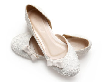 Simply Sweet. Ivory Lace White Satin Wedding 1 Inch Ballerinas, Ivory Lace Satin Bridal Flats, Wedding Shoes in 1 Inch