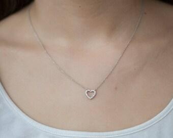 Minimalist Heart Necklace - 925 Sterling Silver - Dainty Heart Necklace - cz Diamond Heart Necklace - Open Heart CZ Necklace