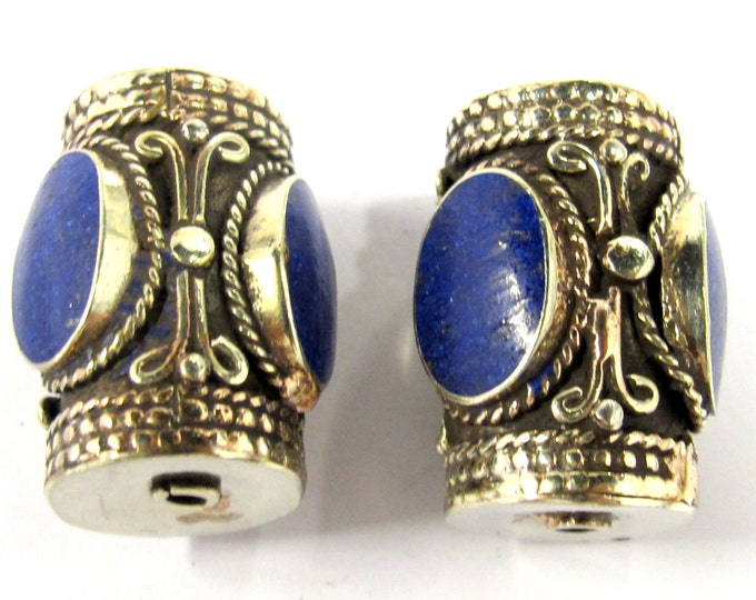 2 Beads -  Large ethnic tibetan silver bead with 3 sided Lapis inlay from Nepal - BD0829s