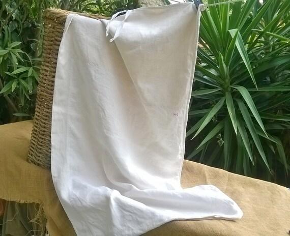 Victorian White Hemp Laundry Bag Antique 19th Century French Homespun Textile Bag #sophieladydeparis