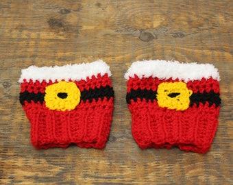 Santa Boot Cuffs, Holiday Boot Topper, Mrs Claus Boot Cuffs,