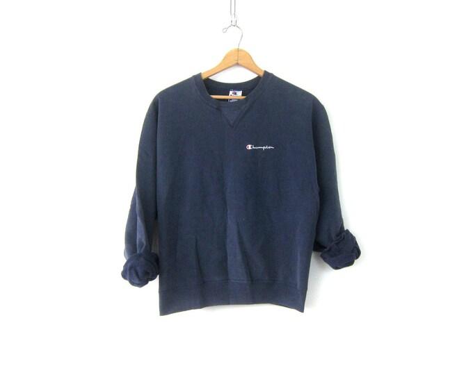 Vintage Champion Sweatshirt Distressed Navy Blue Sports Sweatshirt Athletic Logo sportswear Retro Sporty Sweater Pullover Large