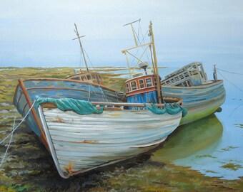 Beach Decor,  Seascape,  Fine Art Giclee Matted Print, Artwork, Ships, Wall Art, Boat painting, Home Decor