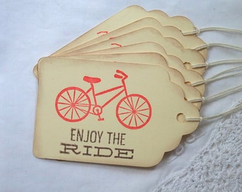 Bicycle Tags, Enjoy The Ride Tags, Bike Tags, Bicycle Club, Bike Club, Vacation, Promotion, Retirement, Tags, Red, Blue, Brown, Set of 6