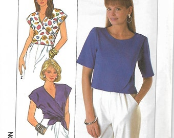 Simplicity 9165 Misses One-Yard Tops, Front Wrap and Overlap, size 6-10, UNCUT