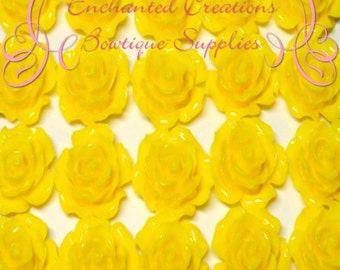 Resin Flower Cabochon 20mm, Yellow Roses, Uses Include Earrings, Magnets, Pins, Thumbtacks, Chunky Jewelry, Wine Charms, Pendant, Jewelry