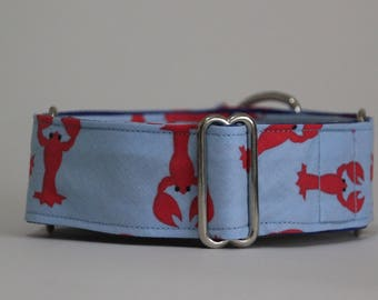 "Greyhound Red Lobster 1.5"" Martingale Collar **New Sizing**"
