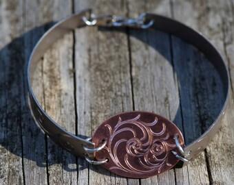 Three-piece CuTi Flare Cut Bracelet, Hand Engraved, Hand Made