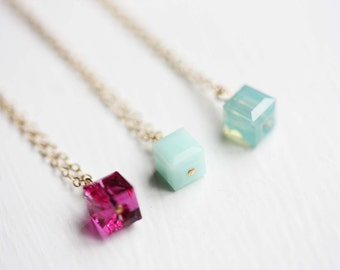 Colorful Cube Necklace, Cube Necklace, Square Necklace, Swarovski Cube Necklace, Gold Filled Necklace, Square Charm, You Choose The Color