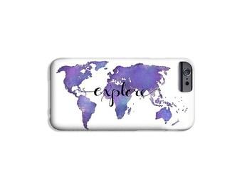 Explore Art Phone Case iPhone 8 Samsung Galaxy s8 Plus Case - Purple World Map Travel Case Gifts for Travelers Travel Gifts Cell Phone Case