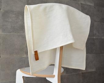 Cream white linen kitchen towel with leather hanger. Eco-linen handmade towel, natural kitchen towel, tea towel, dish towel,  dishcloth.