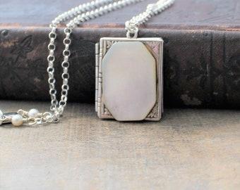 Silver Book Locket Necklace, Sterling Silver Locket, Silver Photo Locket Pendant, Push Present, Picture Locket, Keepsake Jewelry, Push Gift