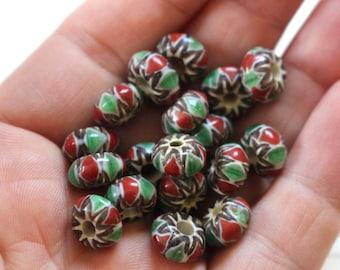 Nepal green glass chevron beads