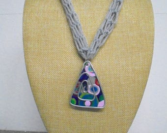 Necklace, crochet 56 cm
