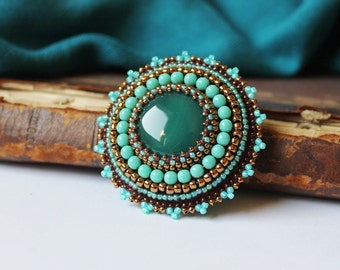 Turquoise Copper Brooch Green Agate Brooch Embroidery Brooch Cabochon Brooch Beadwork Brooch Ethnic Tribal Jewelry MADE TO ORDER