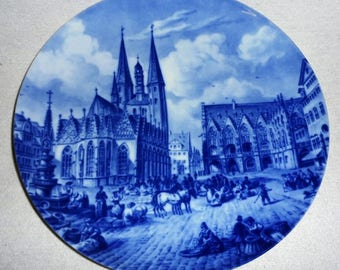 Beautiful collectible-old Town market around 1830-Braunschweig-Fürstenberg 1972-Vintage collector plate
