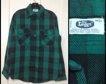 1970's Mr. Leggs heavy cotton flannel shirt size medium black dark green buffalo plaid made in USA excellent condition lumberjack