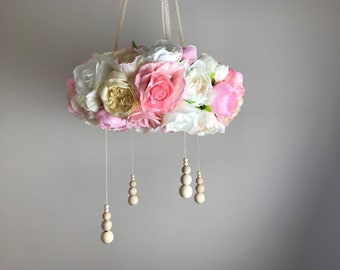 Pink Nursery Flower Mobile Chandelier with natural wooden beads, Large 40cm, Decor, Artificial Flowers, Floral Chandelier, Baby Moile