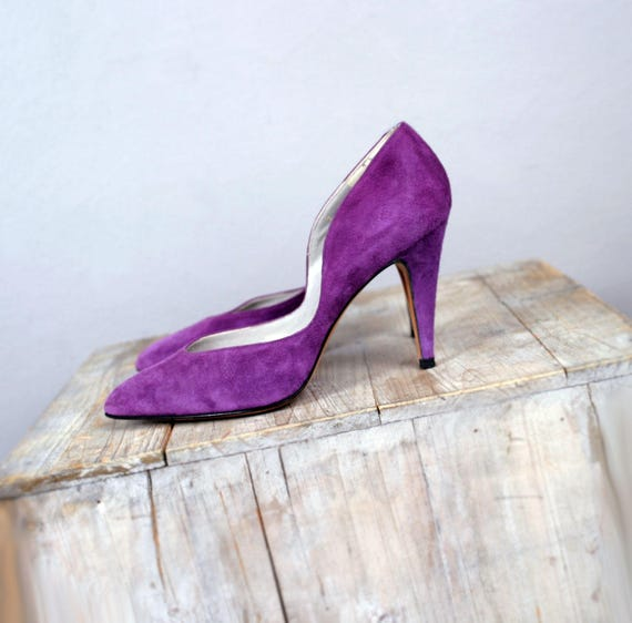 Vintage Italian Shoes Leather Garolini 1980's 1970's High Womens Pumps Purple Heel Designer Stilettos Heels Suede UIqwdwf
