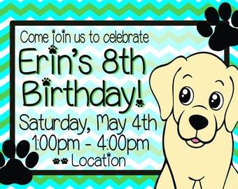 Labrador Kids Birthday Invitation