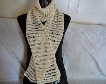 Knit  Lace Scarf  Cream. Cotton.Open  work. Fall/Summer/Spring.Long. Light.Women. Moms Gift.