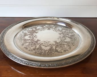 Vintage Silver Serving Tray, Silver Plated Round Platter, 11 Inch, Etched, Wilcox International Silver Co. 7052, Shabby Chic, Wedding Gift