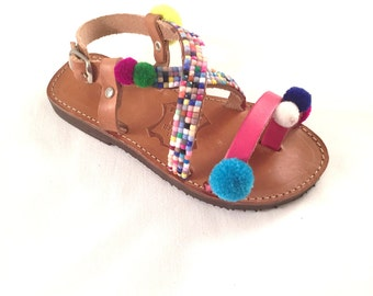 "Mother and Daughter Sandals - Leather Sandals ""Tea Dreams"" (Handmade to order) - kids Sandals - Unique -  Beach Sandals - Mosaic - Pom Pom"