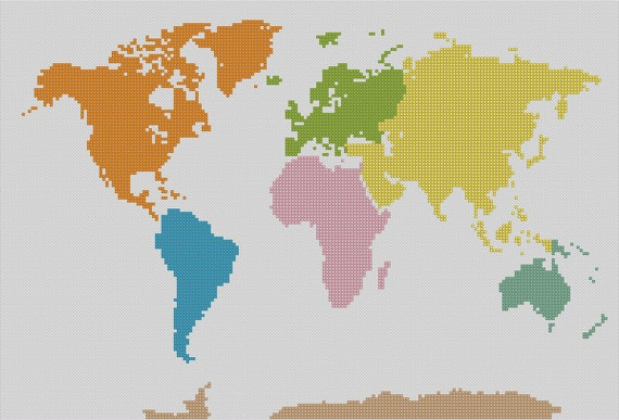 Counted cross stitch pattern world map globe map instant gumiabroncs Gallery