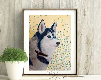 Husky Love, Siberian Husky, Digital download-only image, Printable art, Dog print, Handmade, All the proceeds will be donated to rescue orgs
