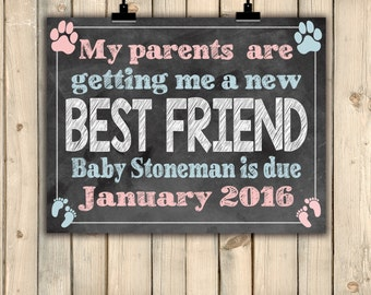 Dog New Best Friend Pregnancy Announcement Sign, New Baby On Way Reveal, Cat New Best Friend, Pets Pregnancy Announcement, Baby BFF, DIGITAL