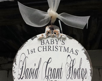 BABY'S FIRST CHRISTMAS Ornament | Personalized Christmas Ornament | Baby's 1st Christmas Ornament | Christmas Tree Ornament | Baby Gift