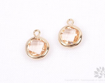F127-02-G-CH// Gold Plated Champagne Faceted Round Glass Pendant, 2 pcs