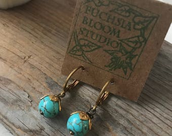Turquoise Earrings With Gold Floral Beadcaps Leverbacks Gemstone Jewelry Art Nouveau Style Classic Gifts Under 30 December Birthstone Aqua