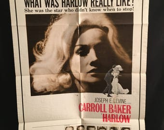 Original 1965 Harlow One Sheet Movie Poster Carroll Baker, Jean Harlow, Joseph Levine
