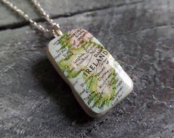 Ireland Map Necklace, Scottish Sea Pottery Shard, Broken China Necklace, Irish Gift, Irish Souvenir, Irish Jewelry, Sea Glass Necklace