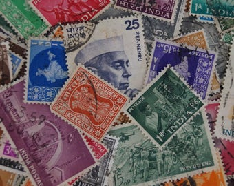 India Postage Stamp Pack / Scrapbook Art Journal Paper Supply / Vintage Paper Ephemera / Colorful Iconic Scraps of India / Art Stamp Supply