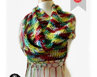 Loom Knitting PATTERNS Scarf Retangular Shawl Pattern EASY -  The Mock Mesh - Includes Video Tutorial