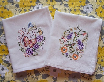 Embroidered Hummingbird and Butterfly on Flour Sack Towels