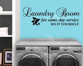 Laundry do yourself etsy laundry room same day service do it yourself vinyl home quote decal sticker solutioingenieria Gallery